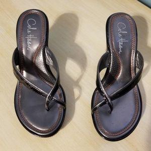 Cole Haan Nike Air Black Wedge Sandals 5.5